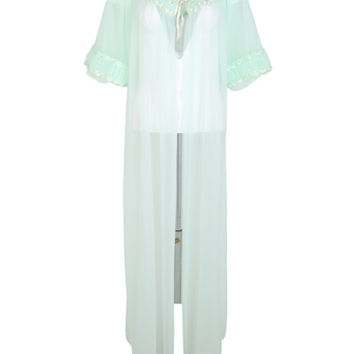 Vintage 60s Light Green Sheer Dressing Gown - L | Classic Vintage | Rokit Vintage Clothing