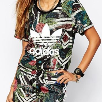Adidas :Female fashion print two piece set
