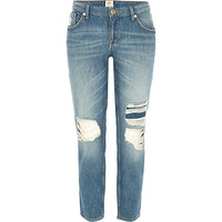 River Island Womens Light wash ripped Eva girlfriend jeans