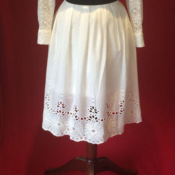 Summer skirt, cotton skirt, white skirt, lace skirt, pleated skirt, midi skirt
