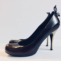 Designer ALEXANDER MCQUEEN Woman's Heels Size 40, Brown and Gold, Antique Alchemy