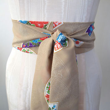 Japanese Obi Belt - Beige Nude Floral and Fan Print Polyester Vintage Fabric - made to order - limited