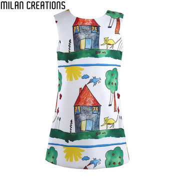Baby Girls Dress Christmas  Brand Princess Dress for Girls Clothes Graffiti Pattern Designer Kids Dresses Children Clothing