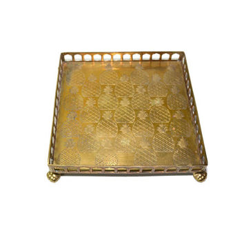 Vintage Brass Pineapple Tray Pineapple Tray Square Tray Footed Pineapple Tray Serving Tray Pineapple Bar