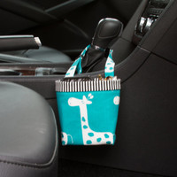 CAR CELLPHONE CADDY Turquoise Giraffes, Cellphone Holder, Sunglass Case, Mobile Accessories, iPhone, Beach Chair Caddy, Pool Chair Holder