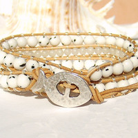 Leather Wrap Bracelet Leather Jewelry Tan Leather White Wrap Bracelet Triple Wrap Bracelet Beach Wrap Bracelet Women Bracelets Boho Jewelry