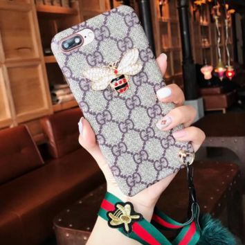 Gucci Fashion Print Bee Hair bulb Phone Shell Phone Case For Iphone 6/6s/6p/7p/7/8/8p/x