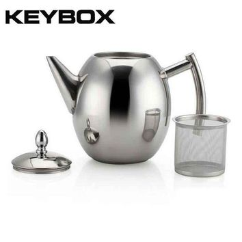 CREYLD1 1000ML/1500ML Durable Teapot Coffee Tea Kettles Sliver Cold Water Pot Kettle With Strainer Home Kitchen Helper