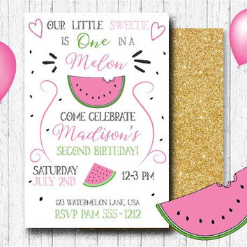 Watermelon Birthday Invitation - One In A Melon Party Invitation - Watermelon Birthday - PRINTABLE - Watermelon Party - Summer Party Invite