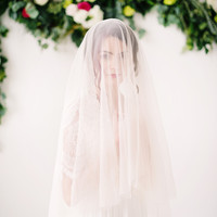 English net circle drop veil, long veil, bridal veil