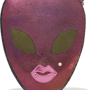 Charlotte Olympia - Alienora iridescent textured-leather clutch