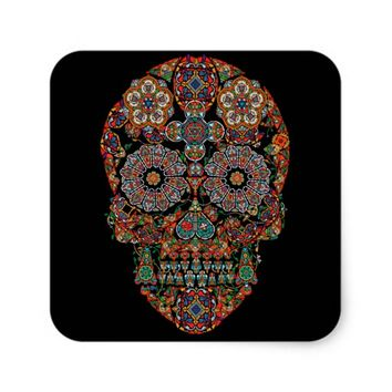 Flower Sugar Skull Square Sticker