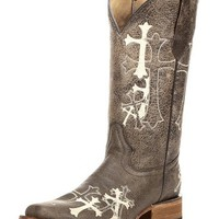 Women's Circle G by Corral Brown/Beige Side Cross Square Toe Boot