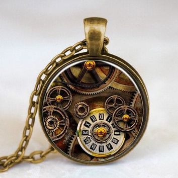 Steampunk Alice in wonderland watch of Life time Necklace Mechanical Pendant Women Necklace Dr who 1pcs/lot chain mens new charm