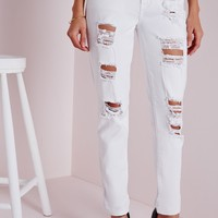 Missguided - Distressed Boyfriend Jeans White