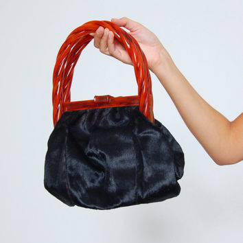 Vintage 50s KORET Handbag With BAKELITE Handle Black Calf Fur Bag With Change Purse Mid Century FUR Bag