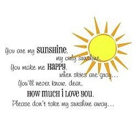 You Are My Sunshine Wall Decal XL (Optional Sun)