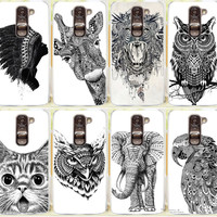 Cool Cartoon Animal Cat Owl Giraffe Elephant Pattern Phone Case For LG G2 Mini D618 D620 Phone Cover Skin Shell Free Shipping
