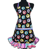 Retro Kitchen Apron for women , Betty Boop with Pastel Rainbow Polka Dot Ruffle