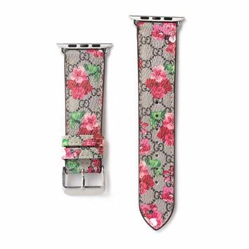 Gucci Monogram Floral Apple Watch Band