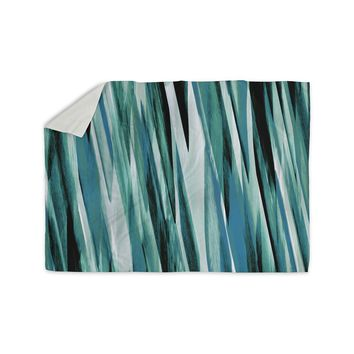 "Nina May ""Teal Brush Strokes"" Teal White Painting Sherpa Blanket"
