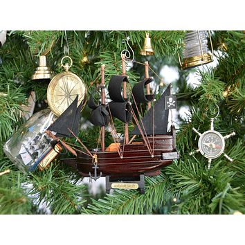 Wooden Captain Kidd's Adventure Galley Model Pirate Ship Christmas Tree Ornament