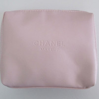 CHANEL MAKEUP Pink Zipper Cosmetic Bag / Makeup Pouch / Clutch