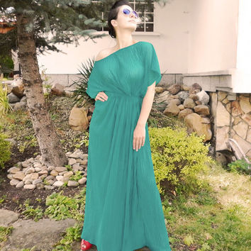 Green Long Caftan Dress / Oversized Dress/ Evening Summer Dress / One Shoulder Dress / Elegant Dress/ Everyday Dress by moShic D005