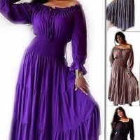Mexican Peasant Gypsy Maxi Dress with 3/4 Ruffled Sleeves