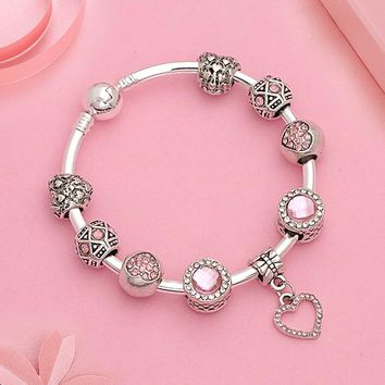 2018 Hot Heart Crystal Bead Pink Pandora Bracelet Silver Color Diy Charms Women Bangle Romantic Couple Bracelet Bangle Jewelry