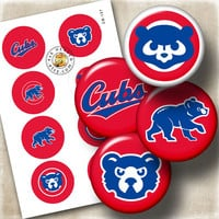 "Chicago Cubs Sport Logos Ditigal Collage Sheet - 1.313"" circles Printable Digital Download for Buttons, Bottle Caps, Crafts CB-127"