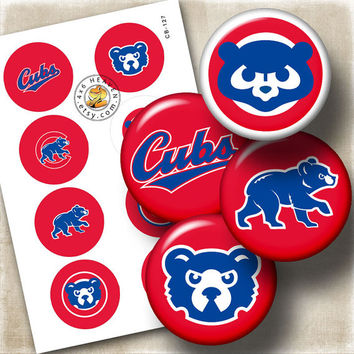 """Chicago Cubs Sport Logos Ditigal Collage Sheet - 1.313"""" circles Printable Digital Download for Buttons, Bottle Caps, Crafts CB-127"""