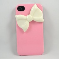 Handmade Unique White Bow on Pink Case Iphone 4/4s Case