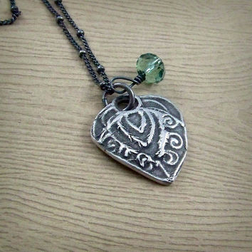 Rustic Heart Necklace - Green Erinite Swarovski Crystal - Oxidized Silver Pendant - Valentine's Day Gift - Anniversay Gift - Ready to Ship