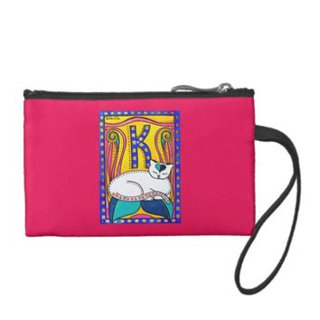 Peace and Love Valentine Cat Art Coin Purse
