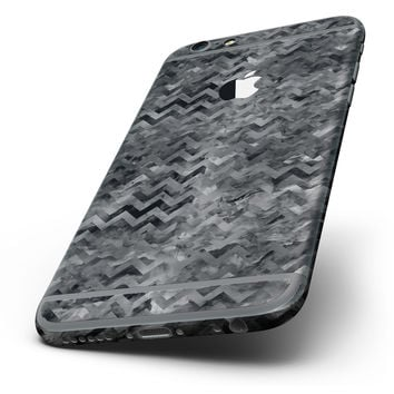 The Black Basic Watercolor Chevron Pattern Six-Piece Skin Kit for the iPhone 6/6s or 6/6s Plus