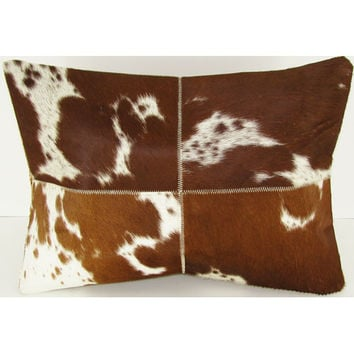 Design Accents SGC 116 Four Square 14x20 Tan Leather and Velvet Tan Four Square 14 x 20 Decorative Pillow