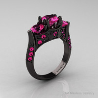 Nature Inspired 14K Black Gold Three Stone Pink Sapphire Solitaire Wedding Ring Y230-14KBGPS