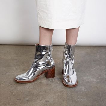 CYBIL SILVER LEATHER BOOTS