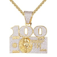 Men's Iced Out 100 Dollar Bill Cash Custom Pendant