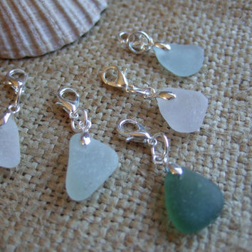 Scottish sea glass charms, charm bracelet pendants, sea glass charms, set of charms, clip on sea glass charms, gift for her, customizeable