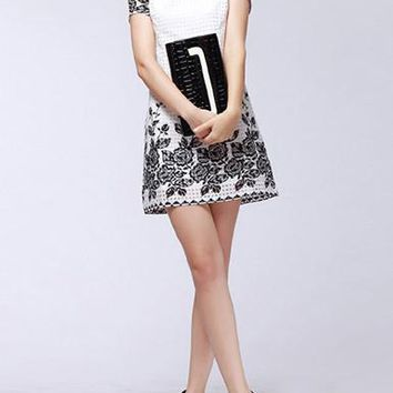 Women's Mini Dress - Demure Dropped Waist / White with Black Trim
