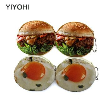 YIYOHI New Cute Style Novelty 3D Printing Zipper Plush Coin Purse Kawaii Children Coin Purse Women Wallet Mini Handbag
