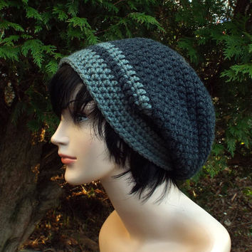 Charcoal Gray Slouch Beanie - Mens Slouchy Crochet Hat with Concrete Gray Trim - Oversized Cap - Chunky Hat - Baggy Beanie