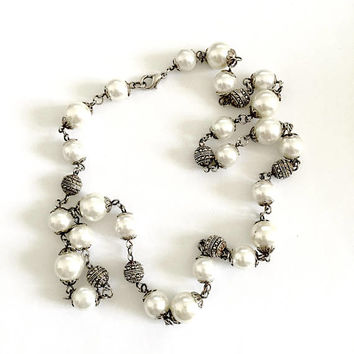 "Classic 24"" Necklace of Lustrous Faux Pearls with Detailed Silver Toned Beads and Lobster Claw Clasp, Classic Necklace, Elegant"