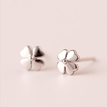 Four Leaf Clover earrings,925 Sterling Silver Earrings,silver earring studs