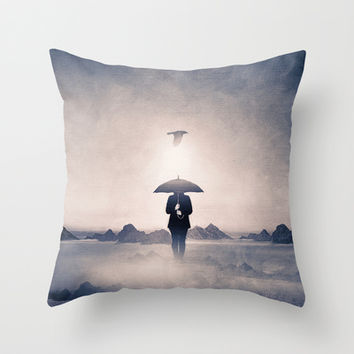 Waiting for the rain (colour option) Throw Pillow by Viviana Gonzalez