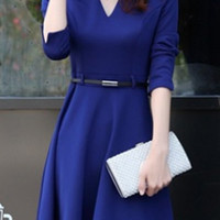 Blue Long Sleeve Knitted Dress with Belt