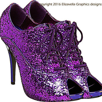 Glittery sparkly purple high heel shoe clip art png digital image download beauty fashion graphics art printables