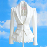 White Big Bow Waist Long-Sleeve Blazer